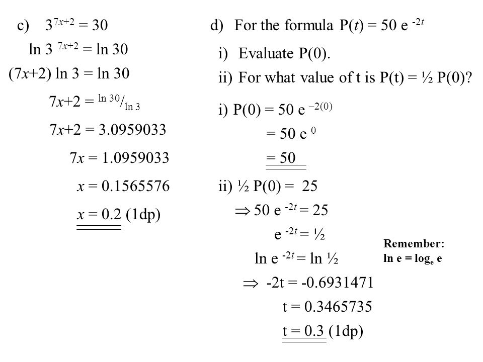 Exponential and logarithmic functions ppt download for the formula pt 50 e 2t sciox Choice Image