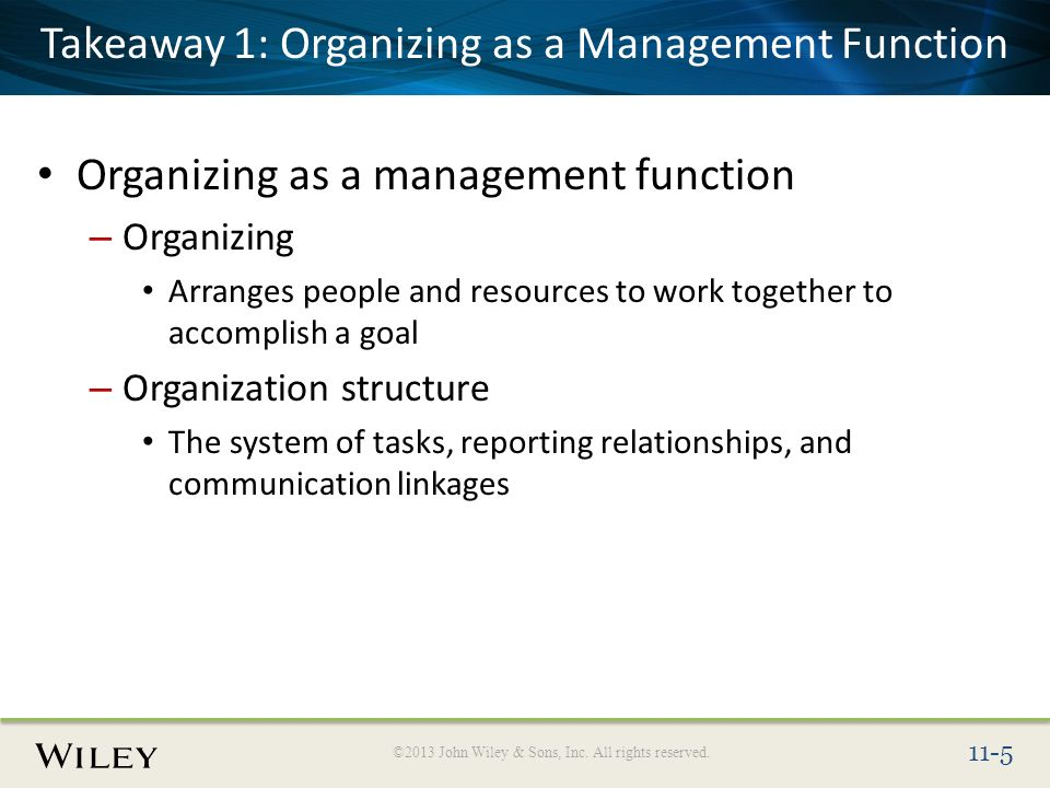 What is Organizing Function of Management?