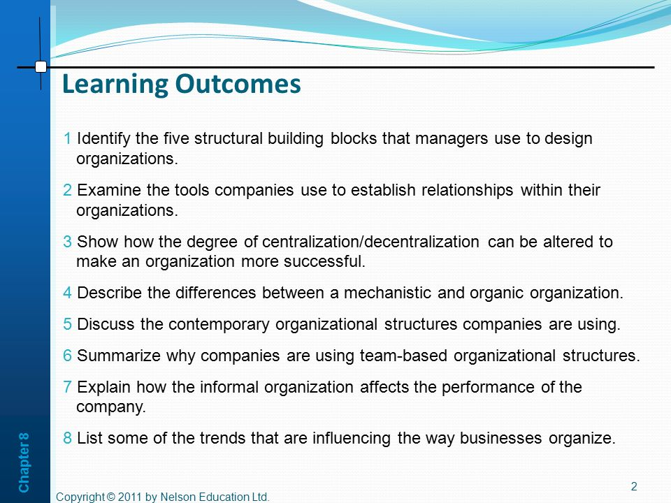 Chapter 8 Learning Outcomes. 1 Identify the five structural building blocks that managers use to design organizations.