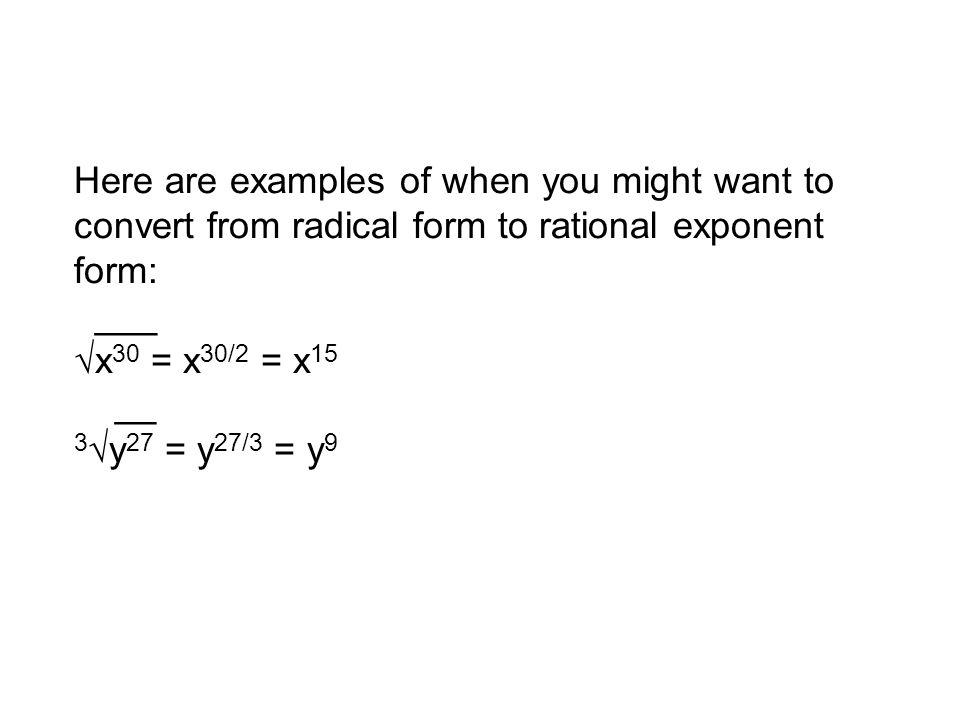 Unit 9 Seminar Agenda Rational Exponents Logarithmic Functions ...