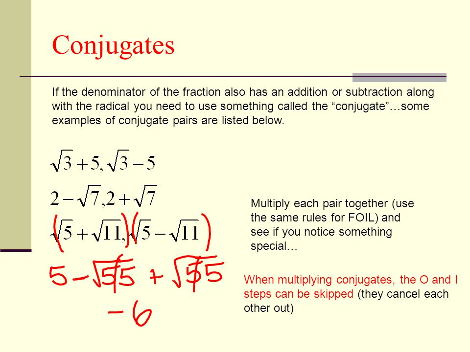 how to find the conjugate of a fraction
