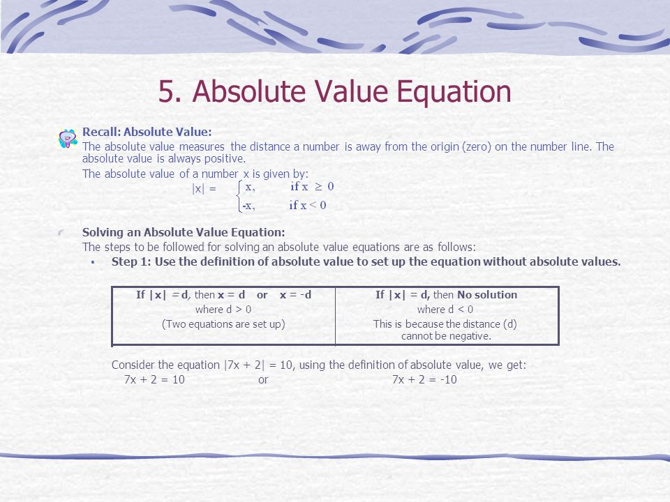5. Absolute Value Equation