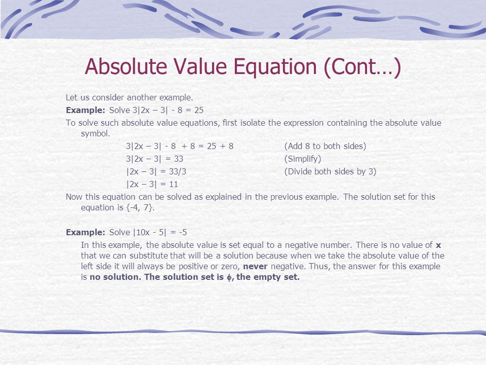 Absolute Value Equation (Cont…)