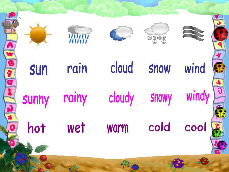 cloud rain wind sun snow windy rainy cloudy snowy sunny hot wet cold cool warm