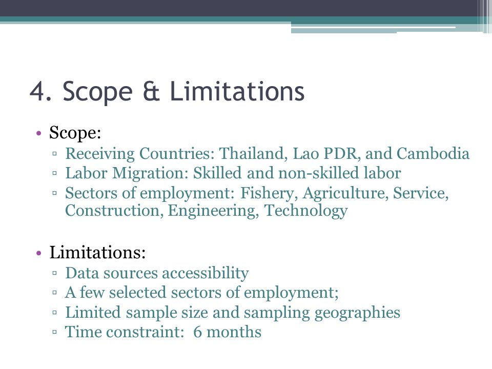 sample of scope and limitation in time management Try to relate the concepts to real life examples • after reading the study notes,   processes involved in the project time management include:  usually involve  physical limitations (eg, you cannot build the ceiling until walls are  uses  information on the activity scope of work, required resource types, estimated  resource.