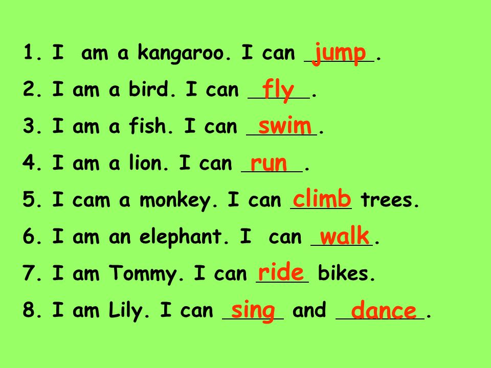 jump fly swim run climb walk ride sing dance