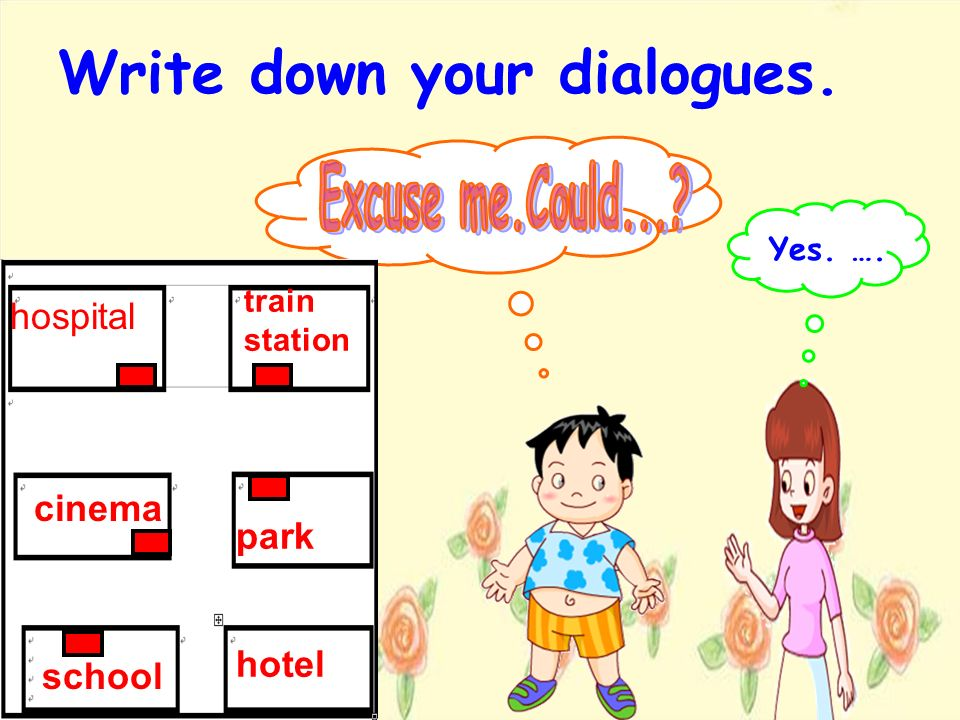 Write down your dialogues.