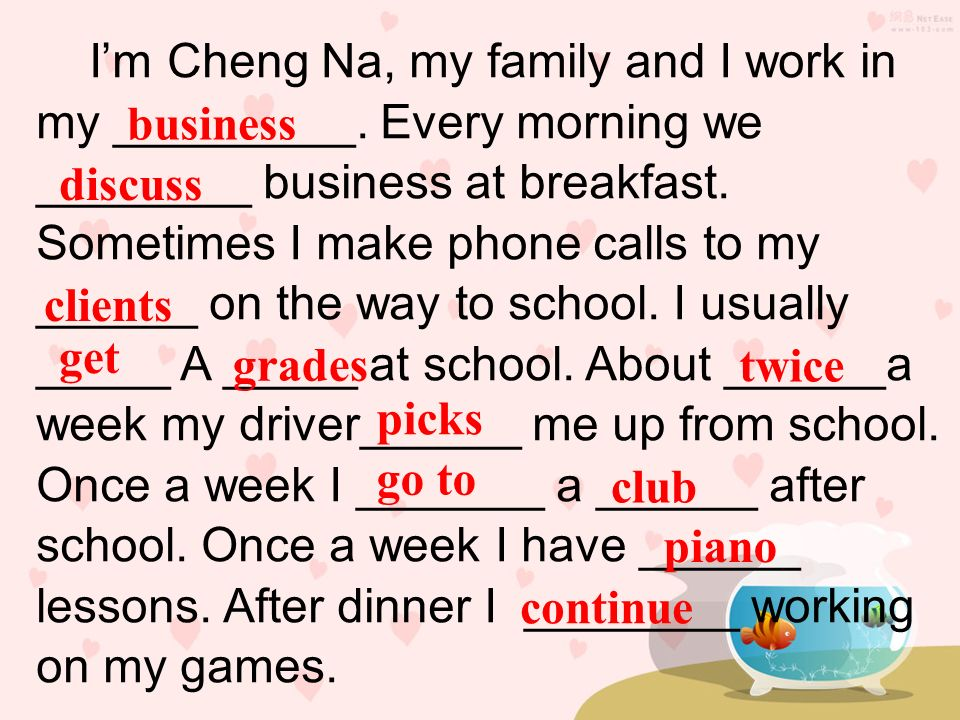 I'm Cheng Na, my family and I work in my _________