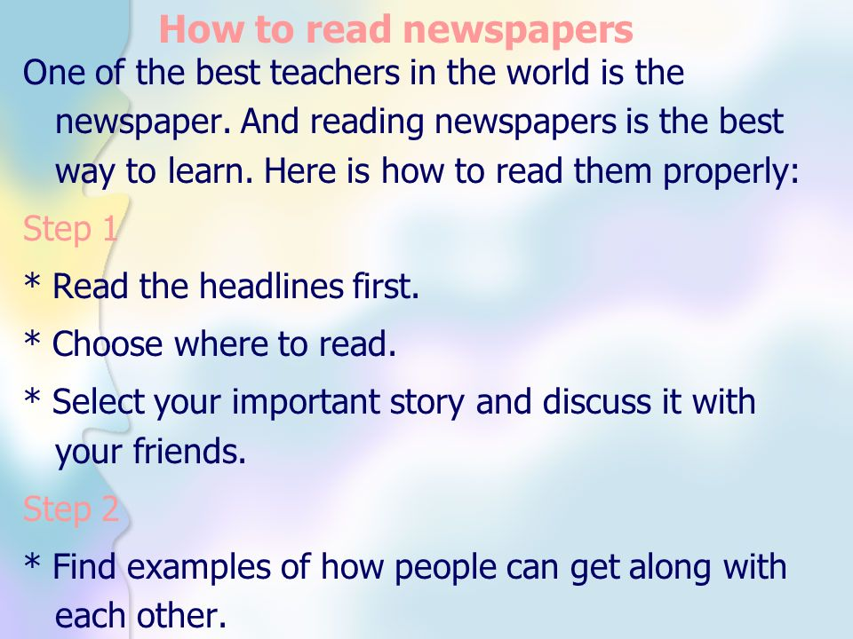 How to read newspapers