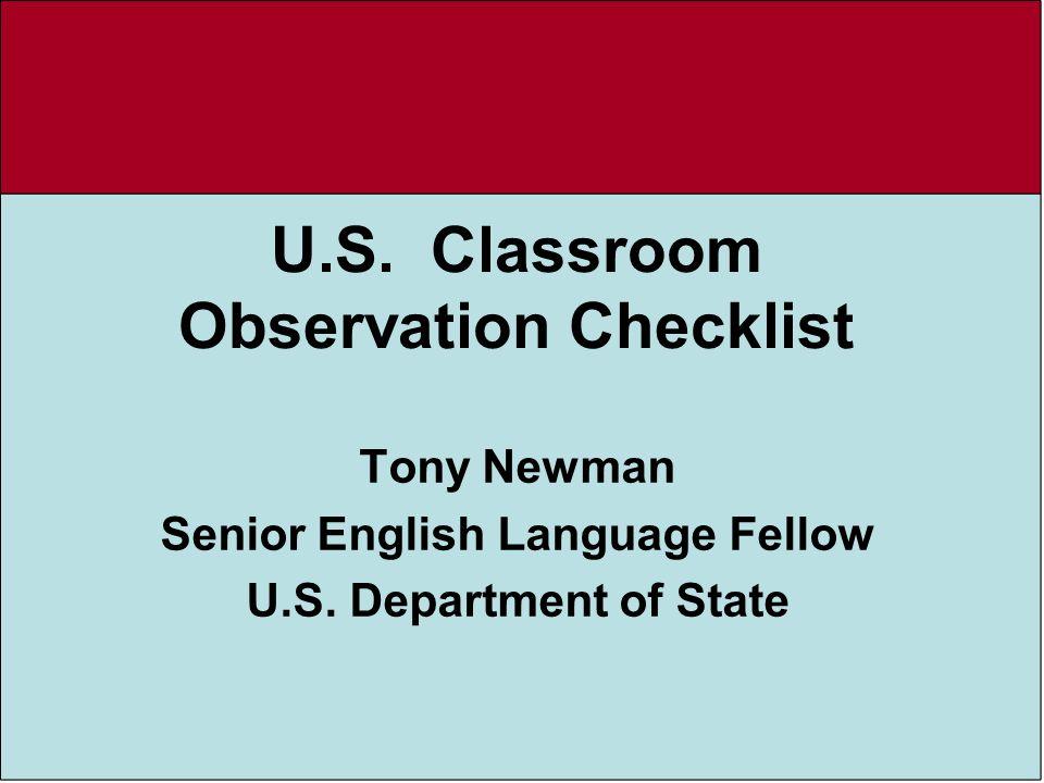 U.S. Classroom Observation Checklist