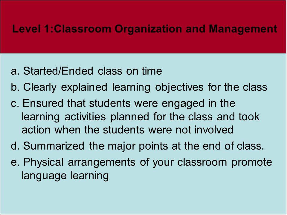 Level 1:Classroom Organization and Management