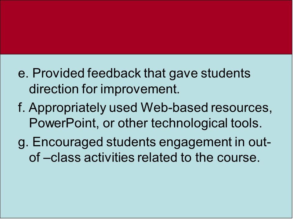 e. Provided feedback that gave students direction for improvement.