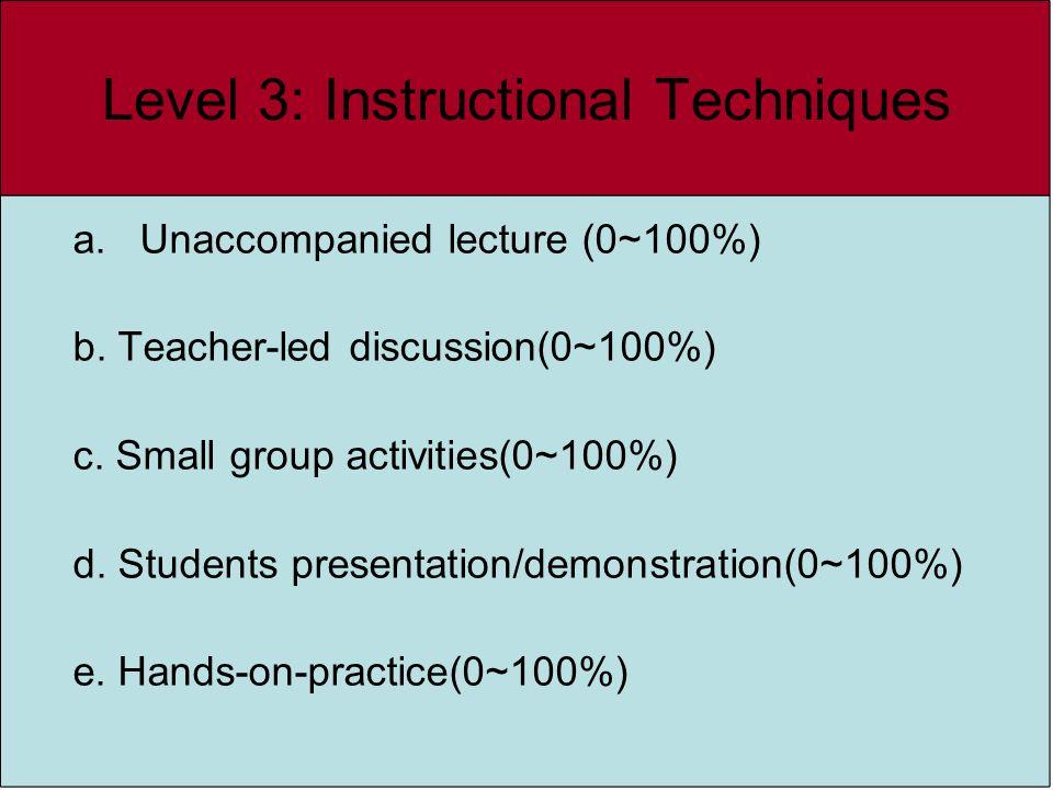 Level 3: Instructional Techniques