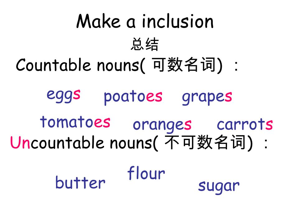 Make a inclusion Countable nouns( 可数名词) : eggs poatoes grapes tomatoes