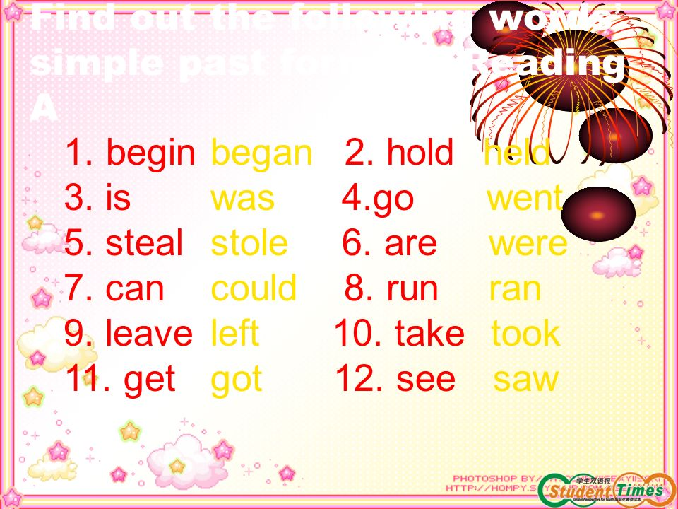 Find out the following words' simple past forms in Reading A