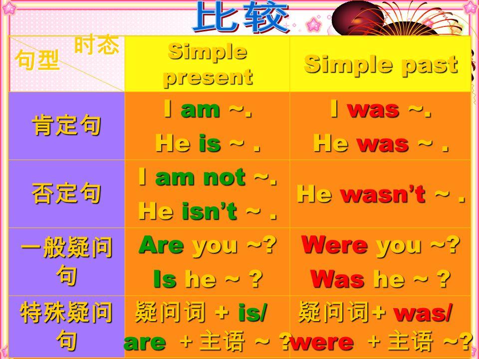 比较 时态 Simple past 肯定句 I am ~. He is ~ . I was ~. He was ~ . 否定句