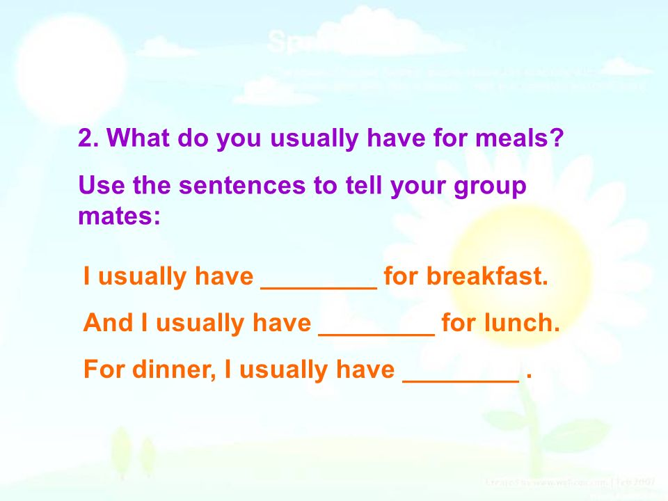 2. What do you usually have for meals