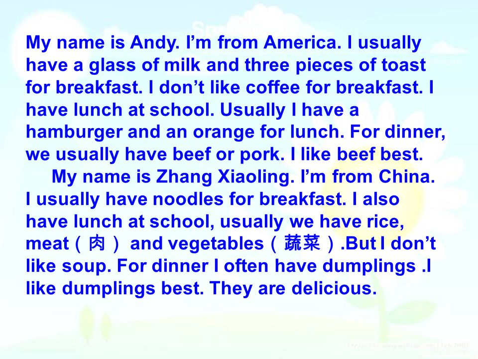 My name is Andy. I'm from America