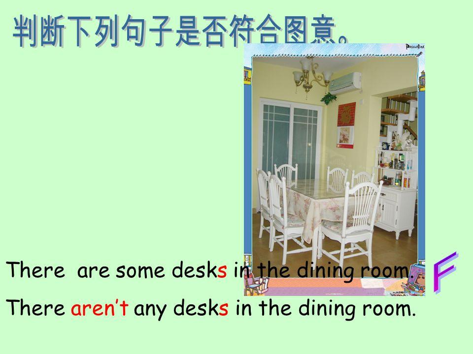 判断下列句子是否符合图意。 F There are some desks in the dining room.