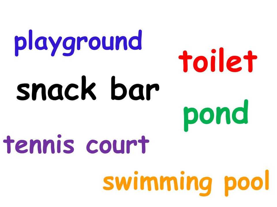 playground toilet snack bar pond tennis court swimming pool