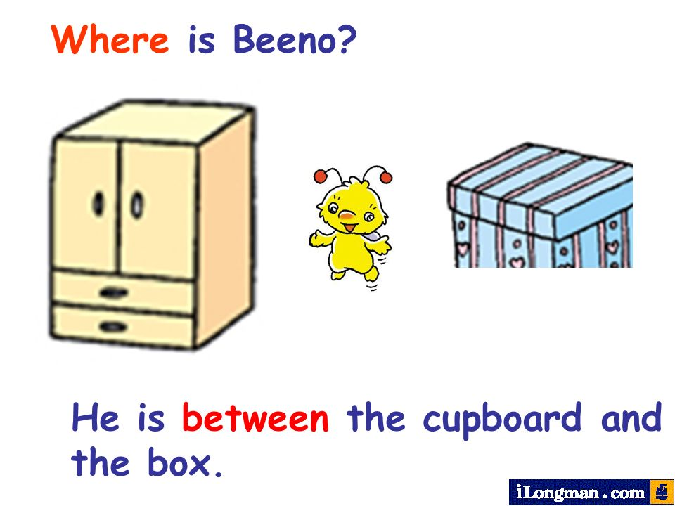 Where is Beeno He is between the cupboard and the box.
