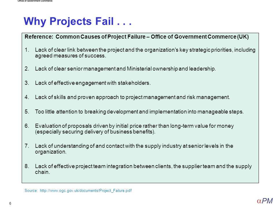 causes of project failure What is one of the root causes of project failure last month we explored how much project management was enough it is generally accepted that.