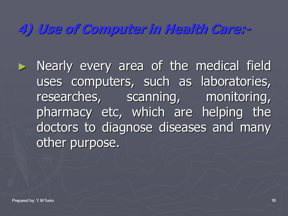 use of computers in pharmacy Pharmacists dispense prescription medications to patients and offer expertise in the safe use of prescriptions they also may conduct health and wellness.