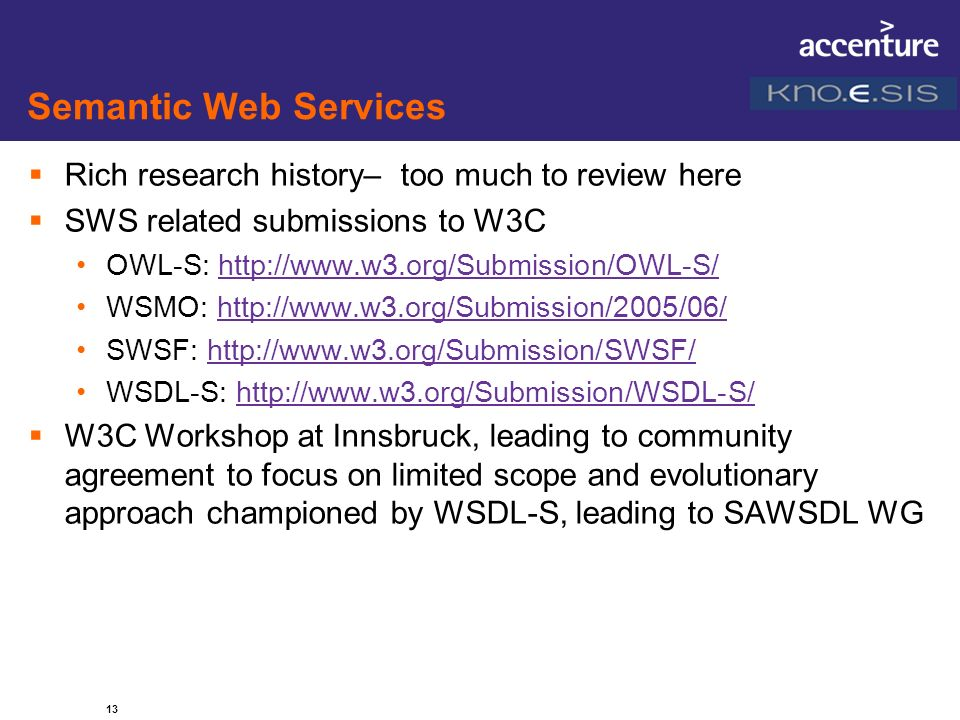 Semantic Web Services Rich research history– too much to review here