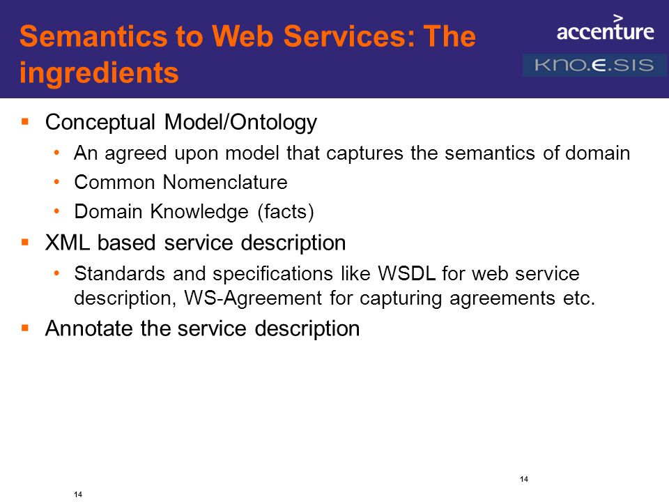 Semantics to Web Services: The ingredients