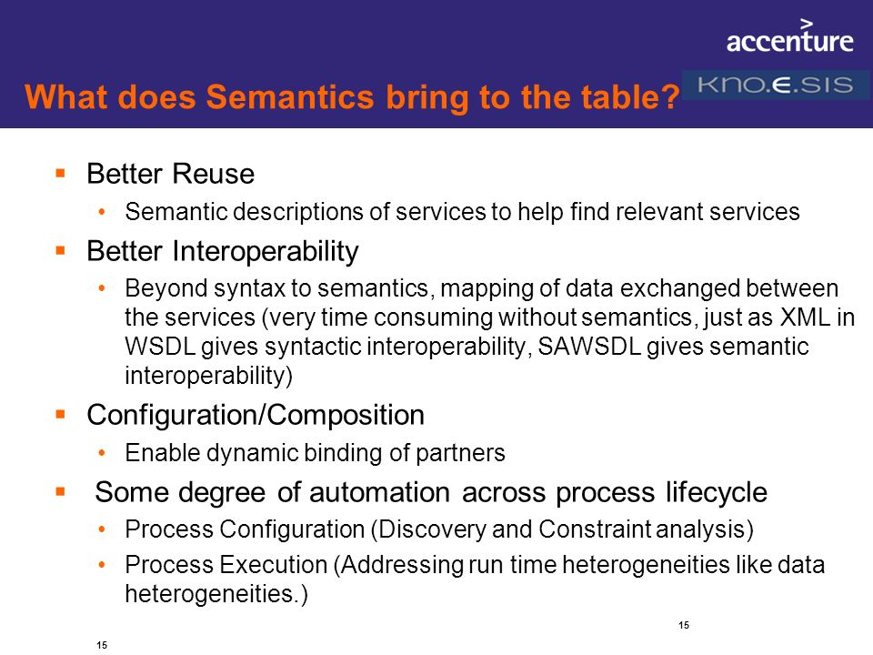 What does Semantics bring to the table