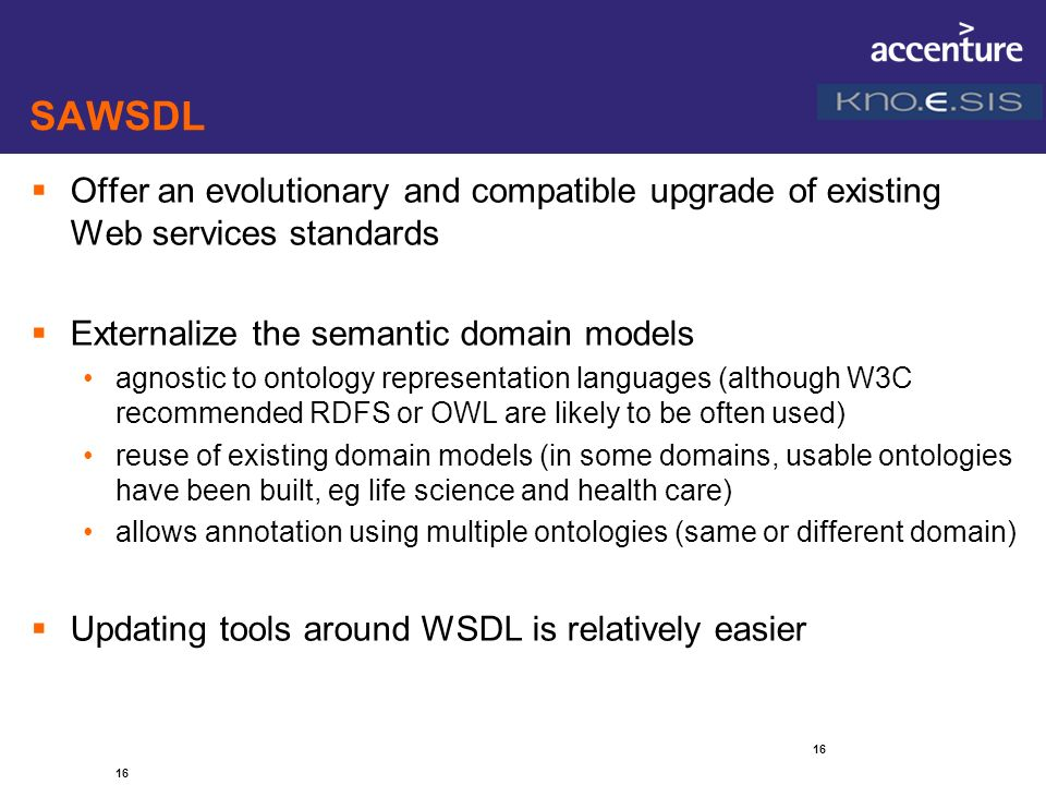 SAWSDL Offer an evolutionary and compatible upgrade of existing Web services standards. Externalize the semantic domain models.