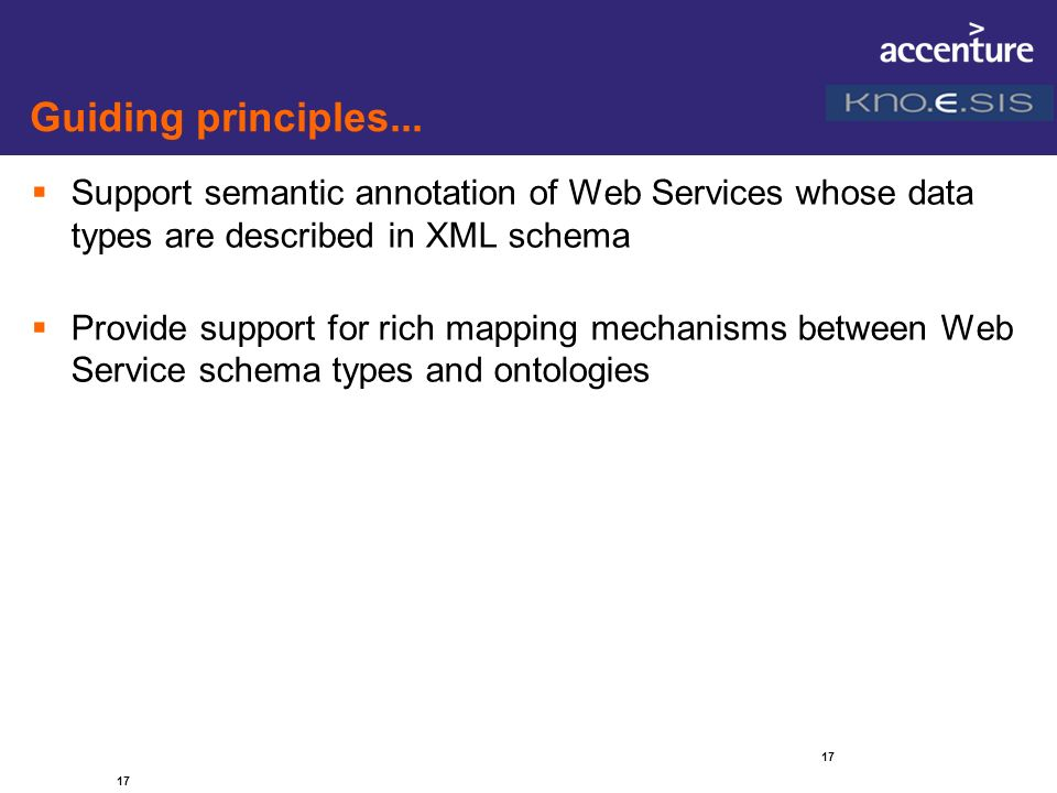 Guiding principles... Support semantic annotation of Web Services whose data types are described in XML schema.