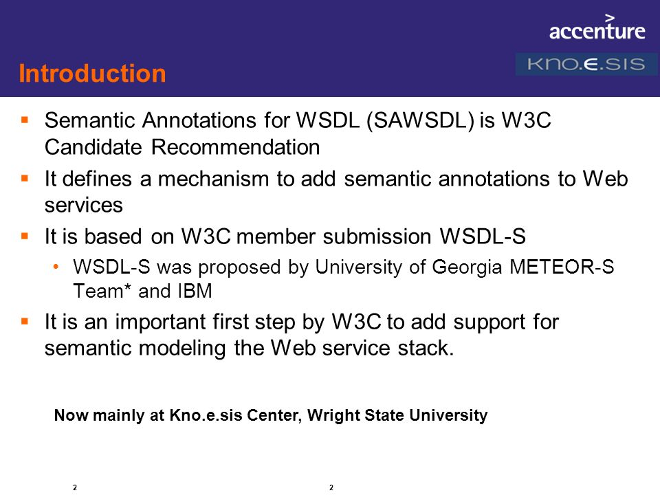 Introduction Semantic Annotations for WSDL (SAWSDL) is W3C Candidate Recommendation.