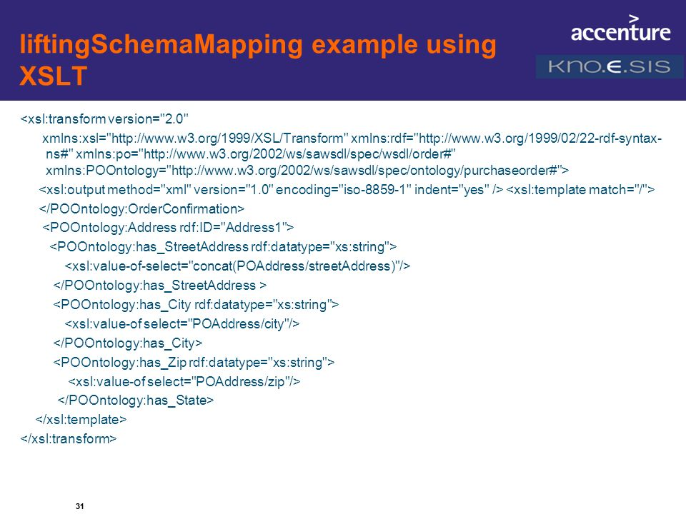 liftingSchemaMapping example using XSLT