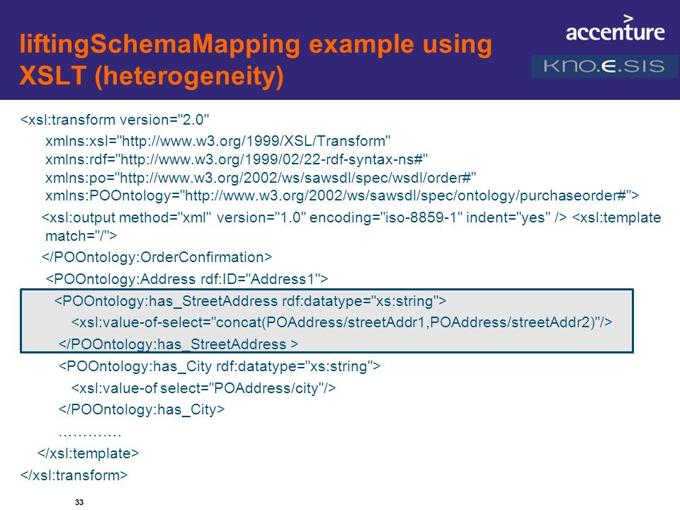 liftingSchemaMapping example using XSLT (heterogeneity)