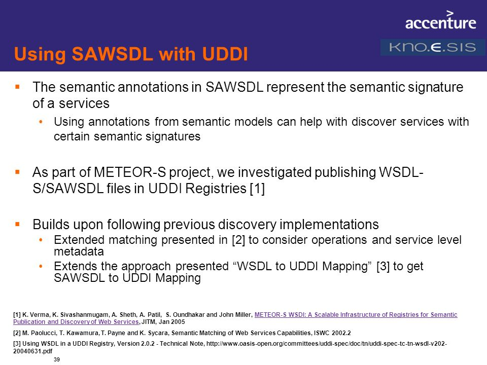 Using SAWSDL with UDDI The semantic annotations in SAWSDL represent the semantic signa ture of a services.