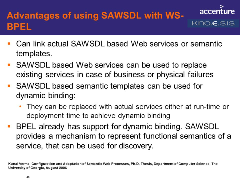 Advantages of using SAWSDL with WS-BPEL