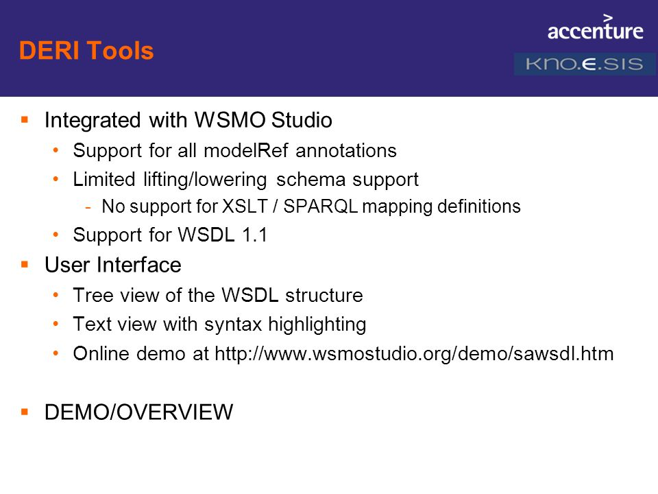 DERI Tools Integrated with WSMO Studio User Interface DEMO/OVERVIEW