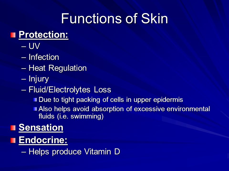 Functions of Skin Protection: Sensation Endocrine: UV Infection