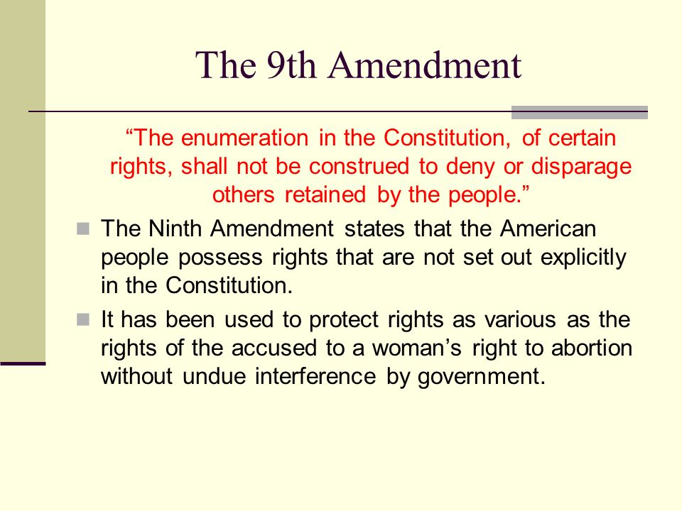 the ninth amendment Ninth amendment states the enumeration of rights in constitution which shall not be construed to deny/disparage others retained by the people.