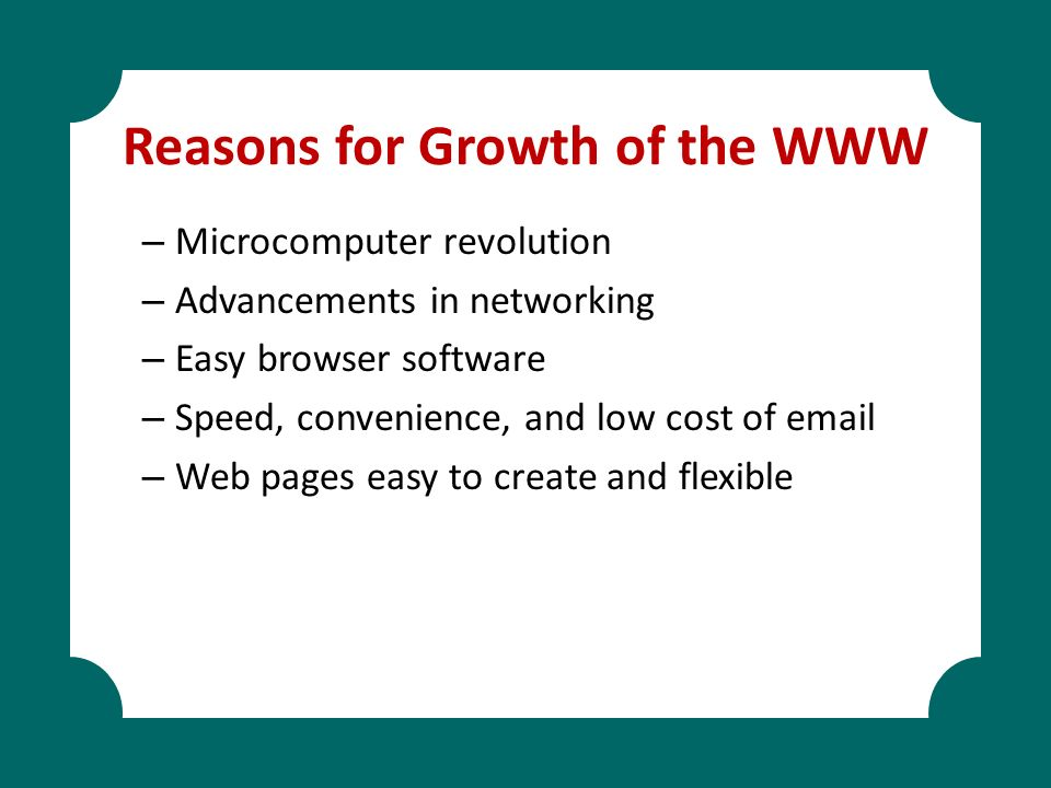 Reasons for Growth of the WWW