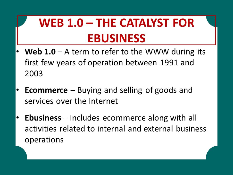 WEB 1.0 – THE CATALYST FOR EBUSINESS