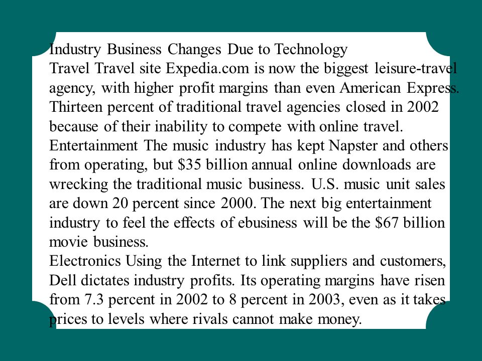 Industry Business Changes Due to Technology