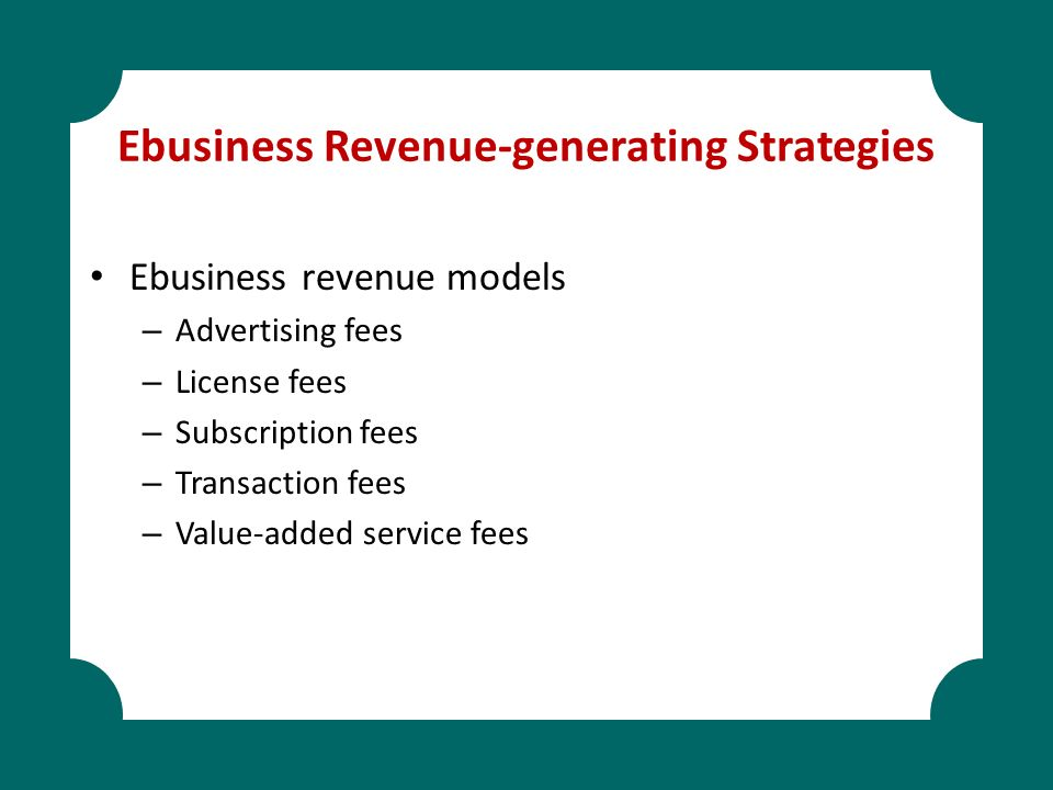 Ebusiness Revenue-generating Strategies