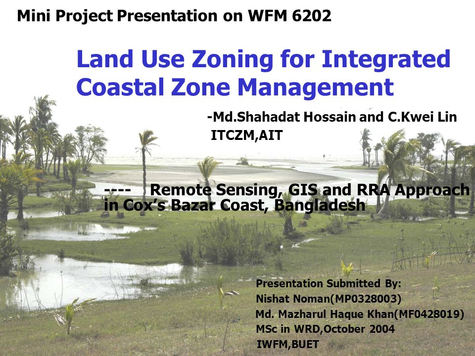 Land use zoning for integrated coastal zone management for Soil use and management