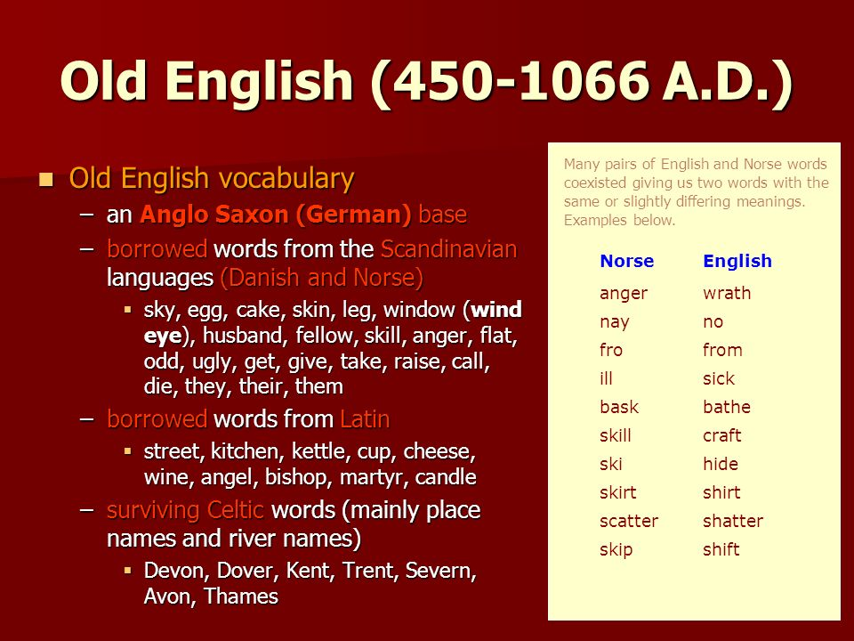 old english words The list below presents some 500 old english words which could be regarded as literary core vocabulary some of the words are among the most frequent in old english.