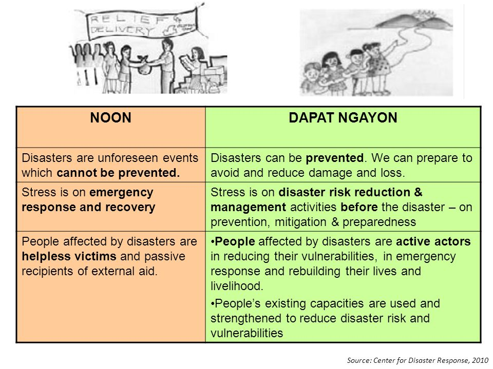 NOON DAPAT NGAYON. Disasters are unforeseen events which cannot be prevented.