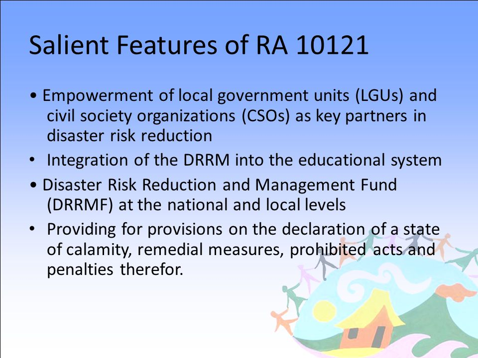 Salient Features of RA 10121