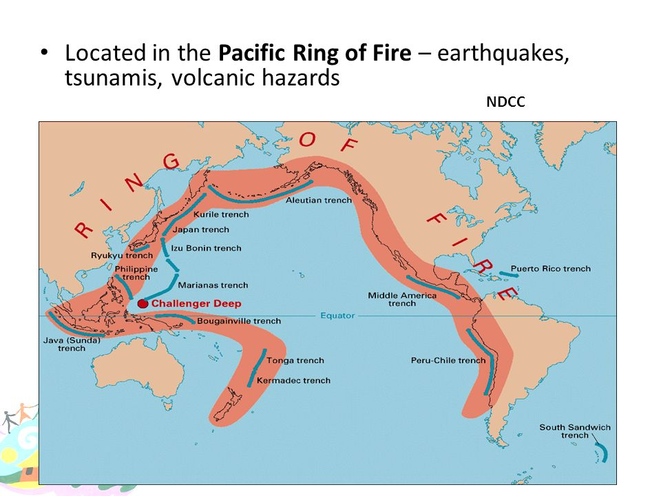 Located in the Pacific Ring of Fire – earthquakes, tsunamis, volcanic hazards
