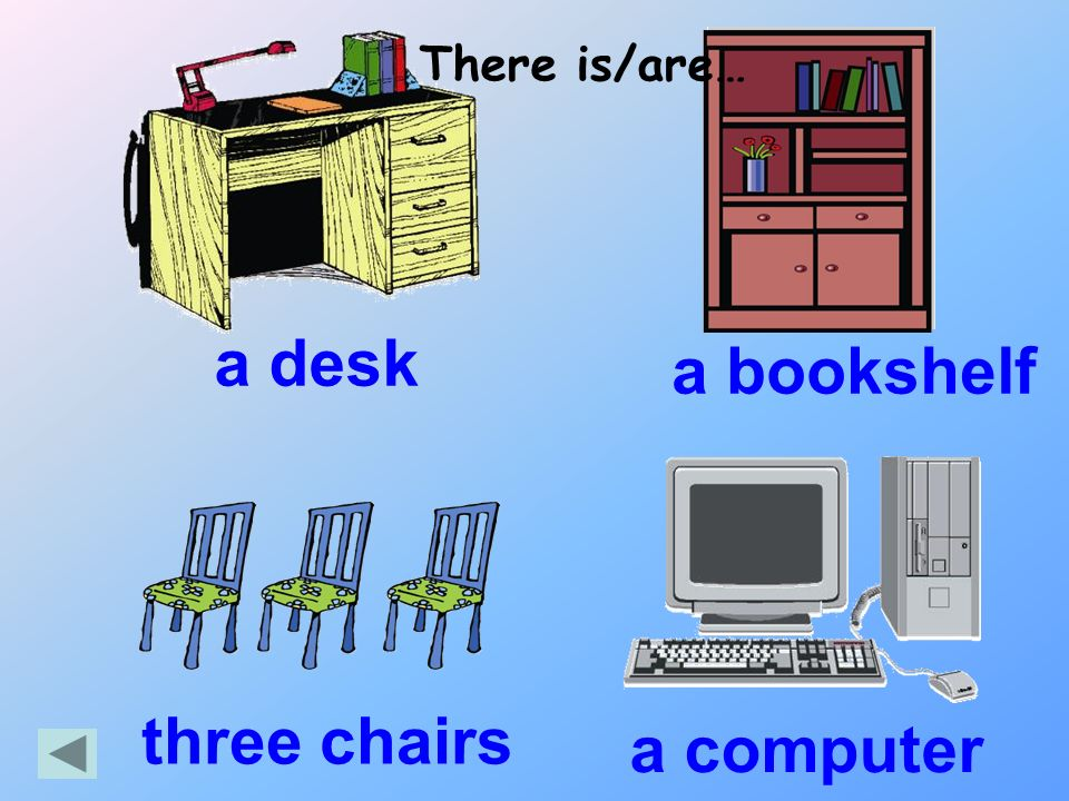 a desk There is/are… a bookshelf a computer three chairs